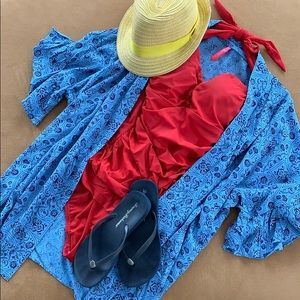 The Ruffle Top in light blue and navy blue